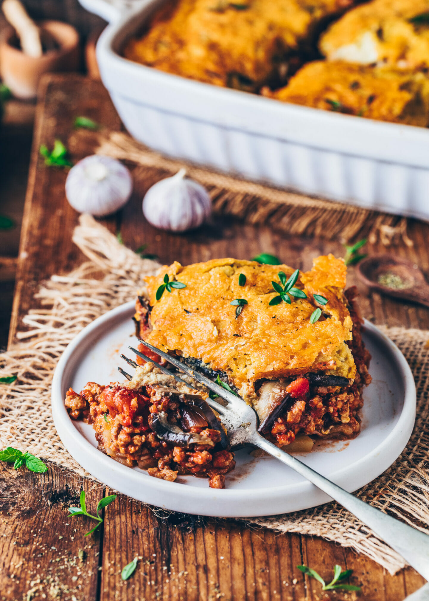 Moussaka with vegan meat tomato sauce and cashew béchamel (Greek lasagna)