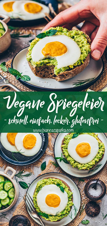Vegane Spiegeleier auf Avocado Brot