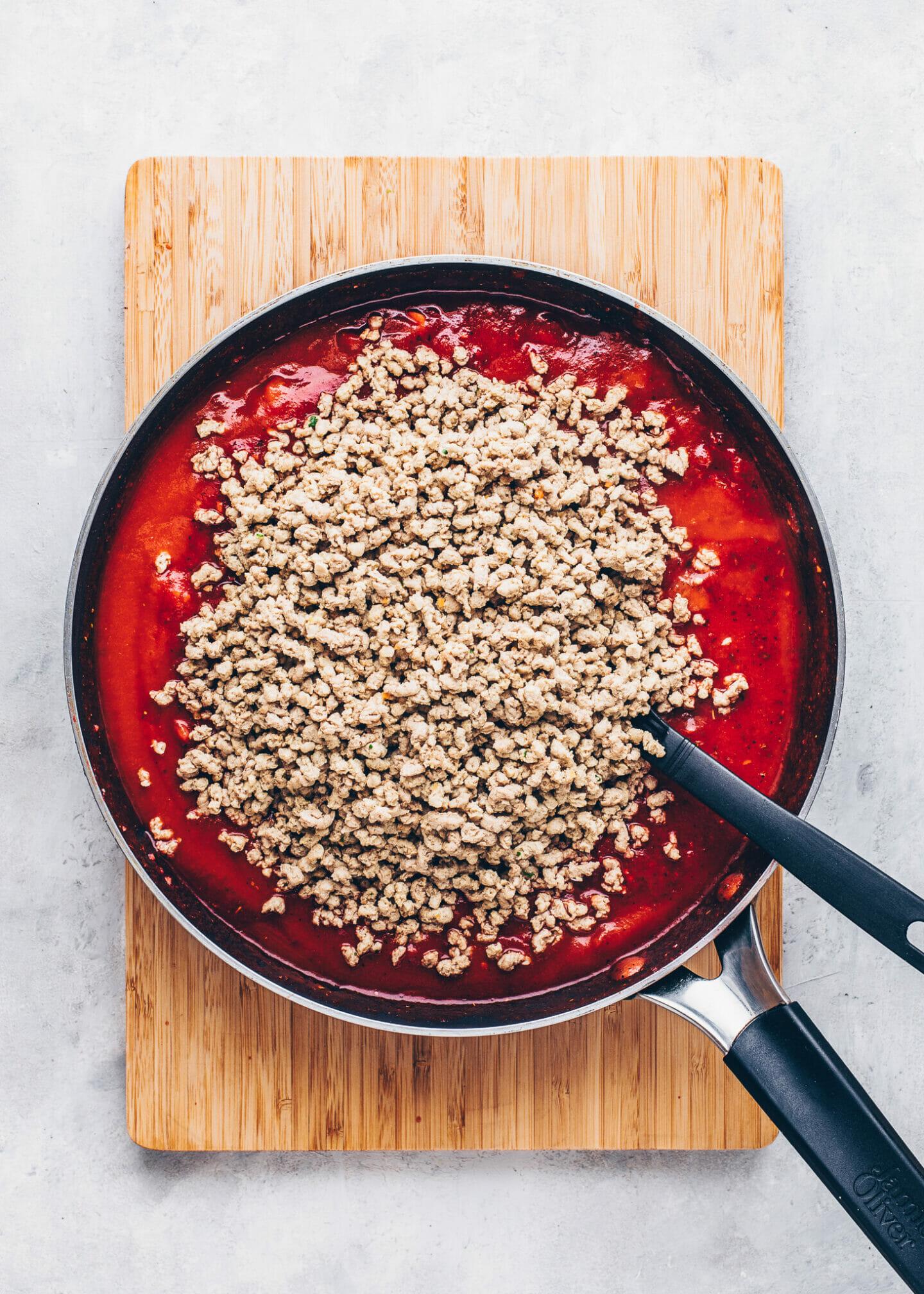vegan tomato mince meat sauce