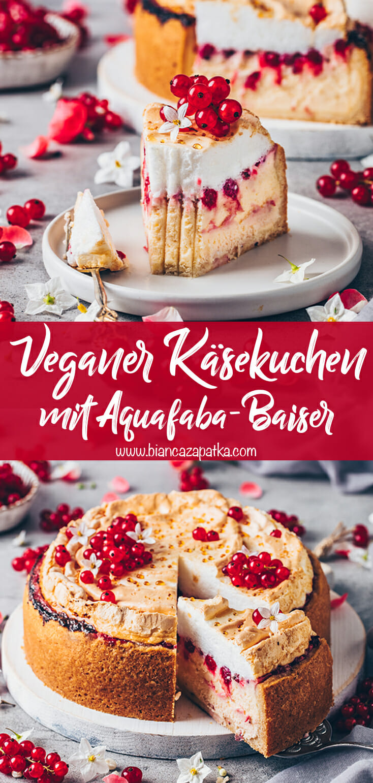 Veganer Käsekuchen mit Baiser und Johannisbeeren (Goldtröpfchen-Torte)