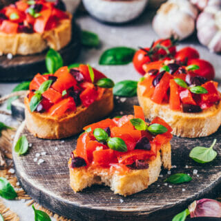 Vegan Bruschetta with tomatoes, garlic, and basil