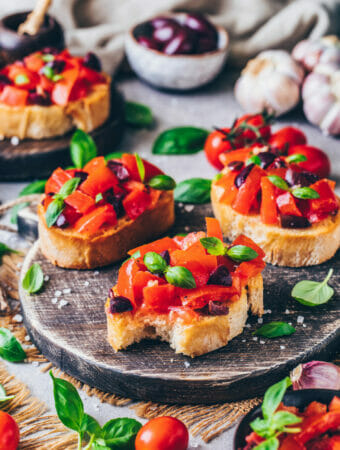 Vegan Bruschetta with tomatoes, garlic, and basil