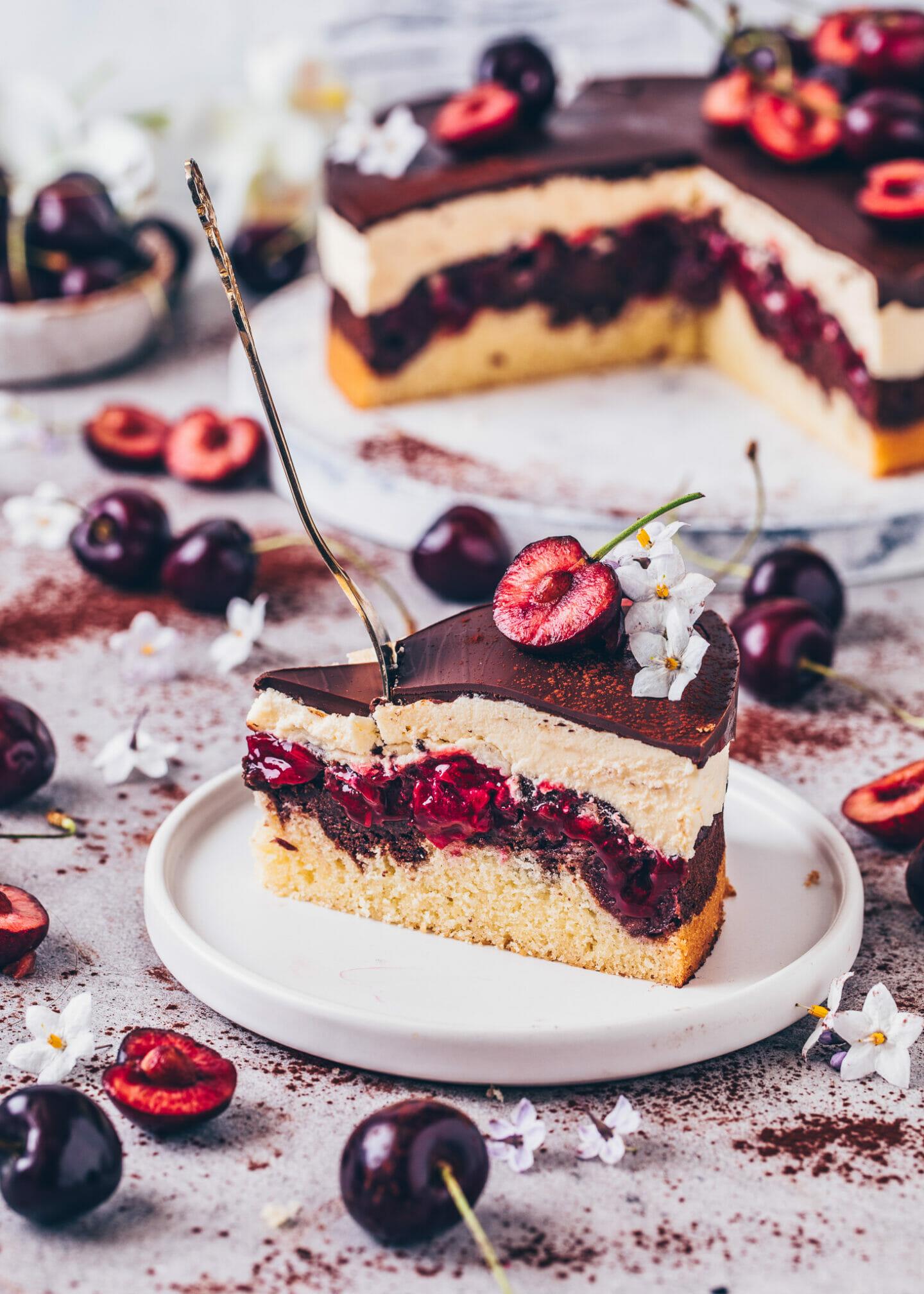 Vegan Cherry Chocolate Marble Cake