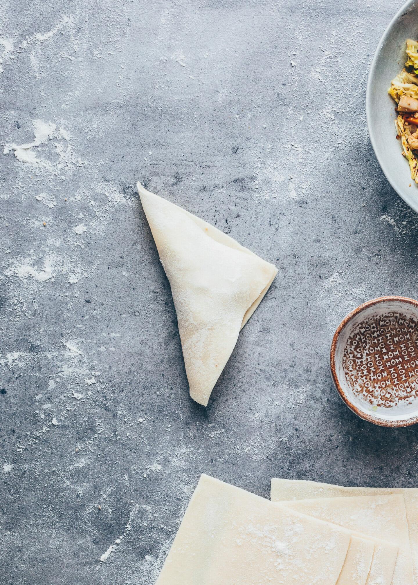 Chinesische Wan Tan Teigtaschen