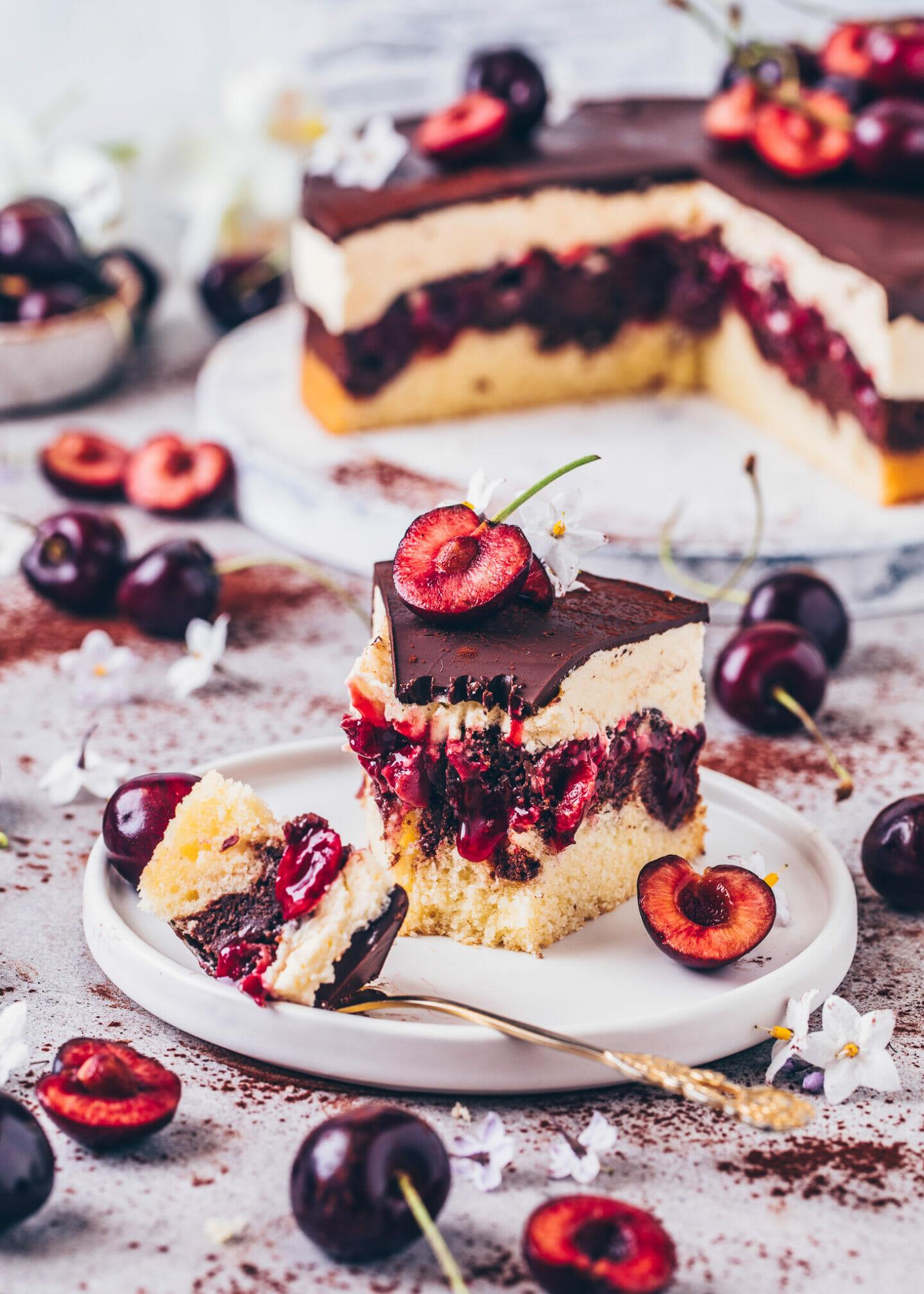 Cherry Chocolate Cake with Pudding Cream