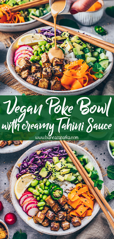 Vegan Poke Bowl with crispy Tofu and creamy Tahini Sauce