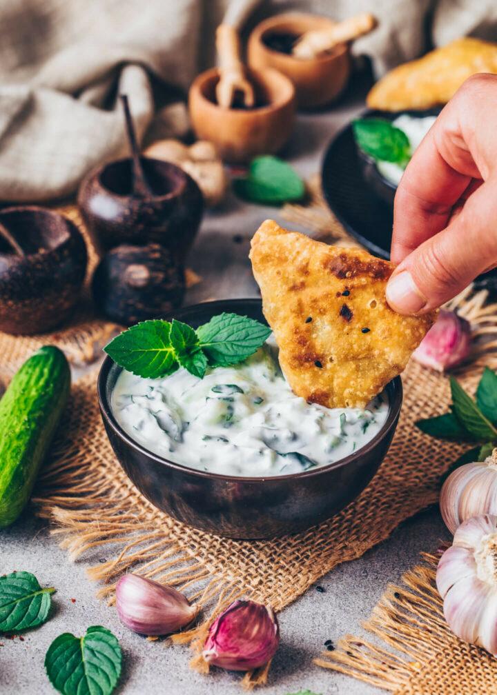 Indian Raita Dip Sauce with Samosas