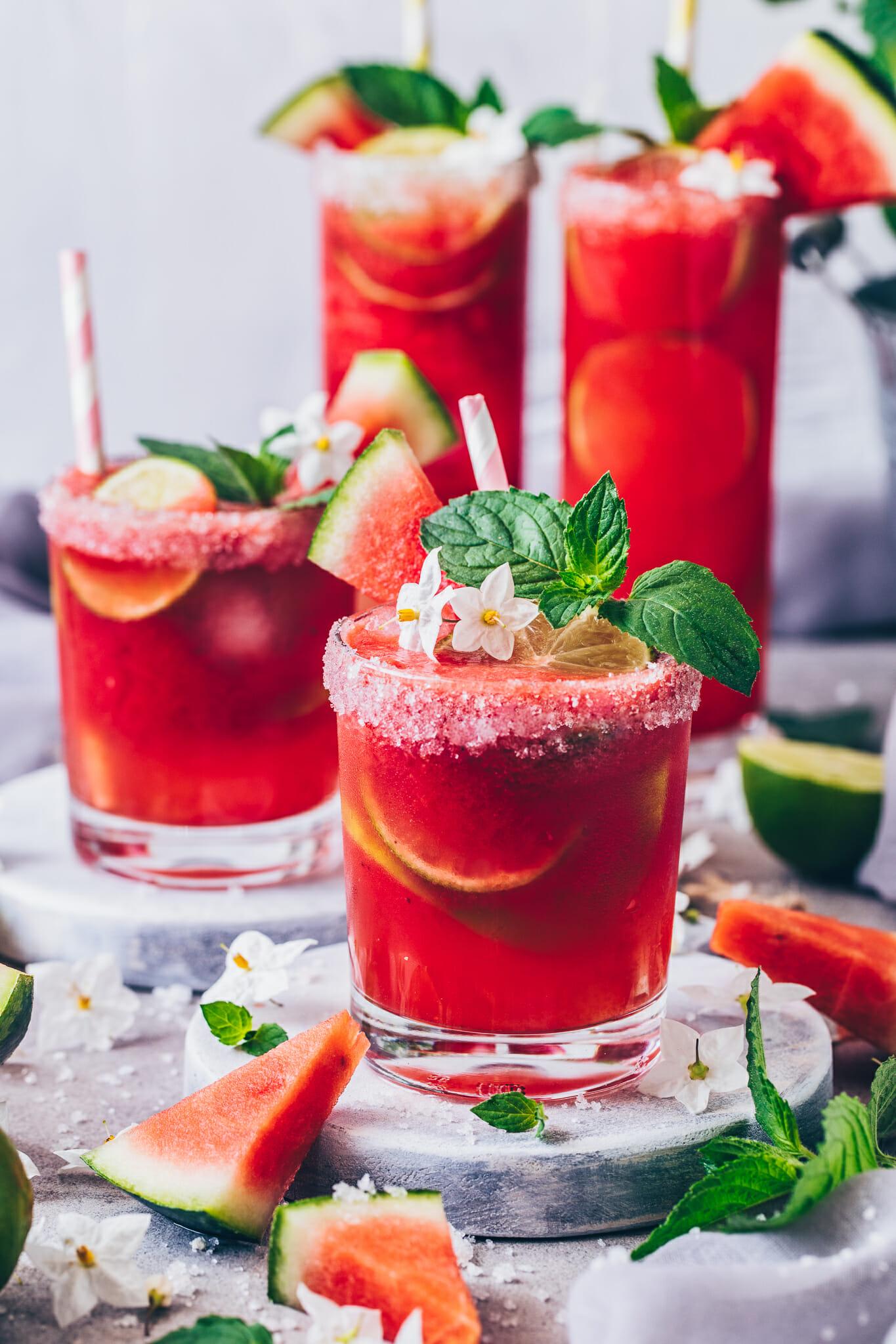 Watermelon Margarita (Frozen Slush Cocktail)