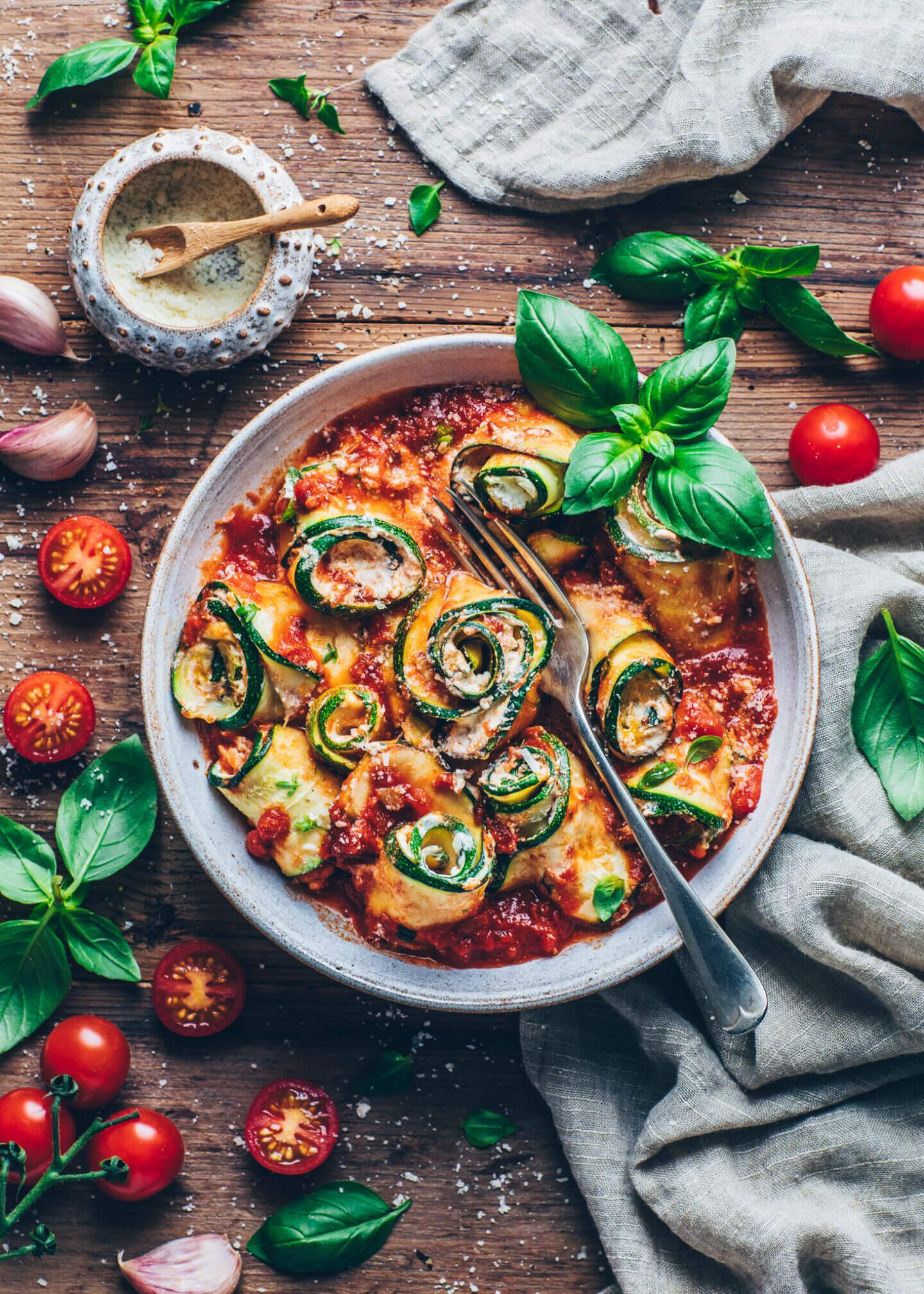 Zucchini-Involtini mit Cashew-Ricotta