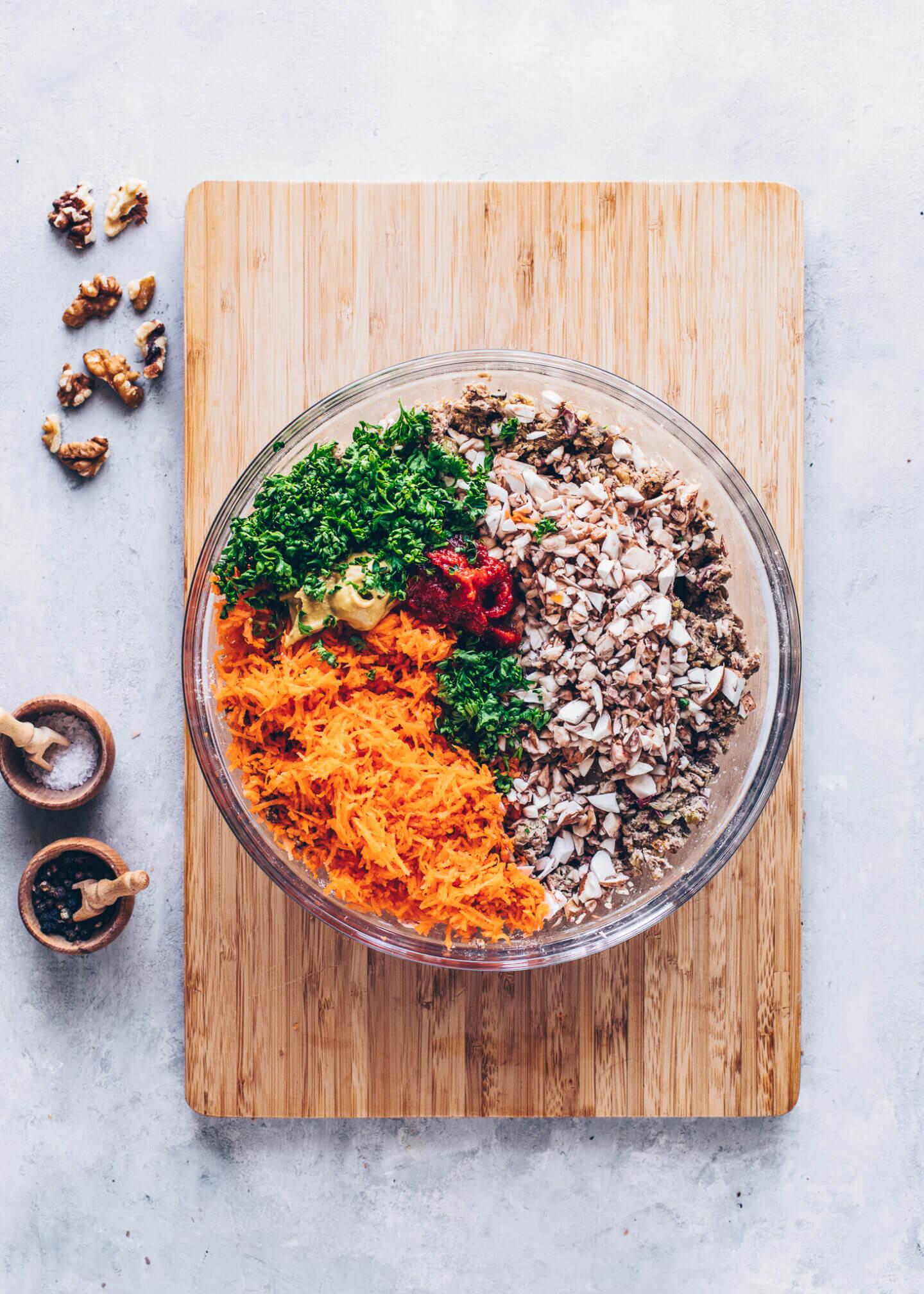 Vegan Meatloaf Ingredients in a bowl