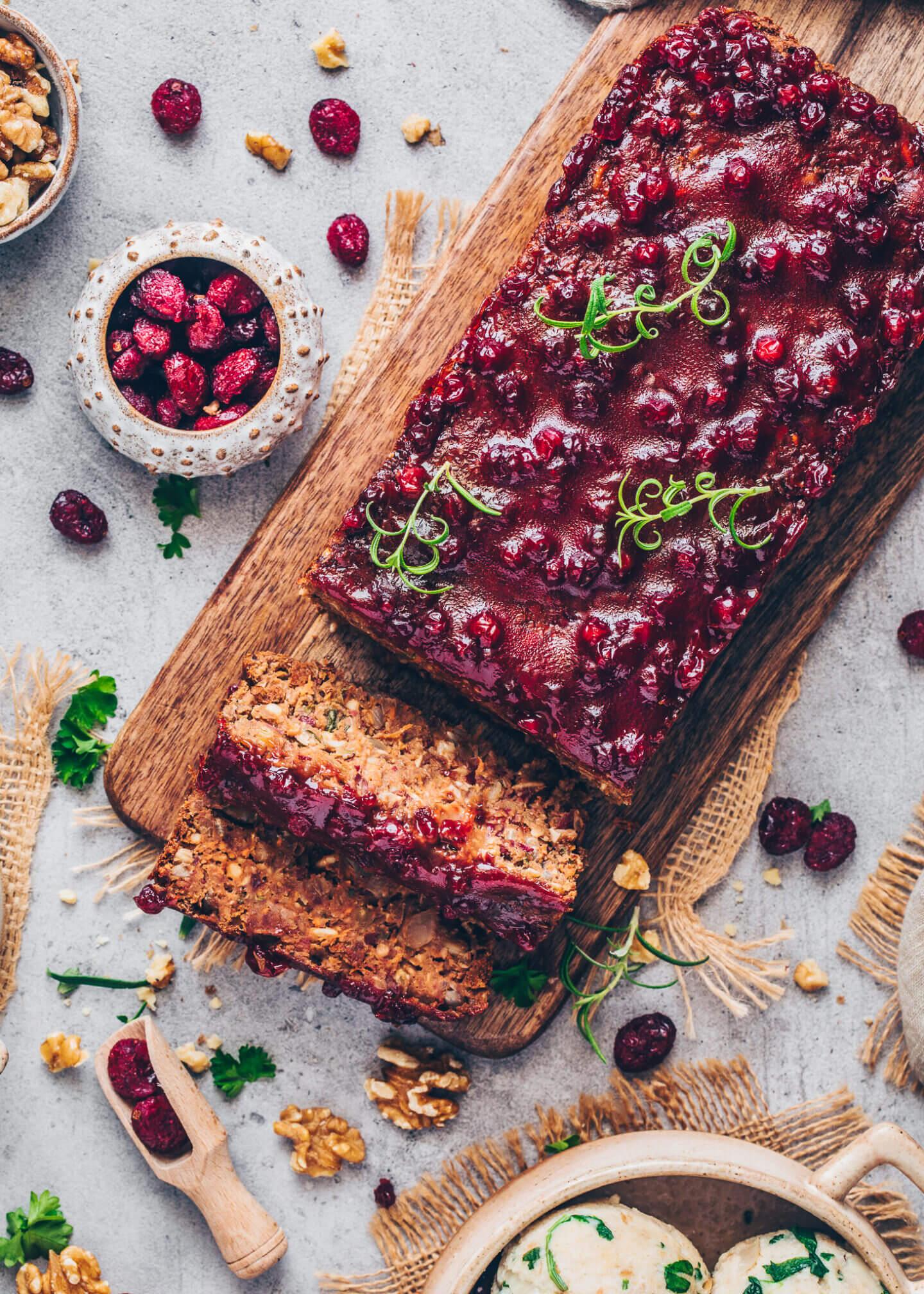 Best Vegan Meatloaf with Cranberry Chutney Glaze