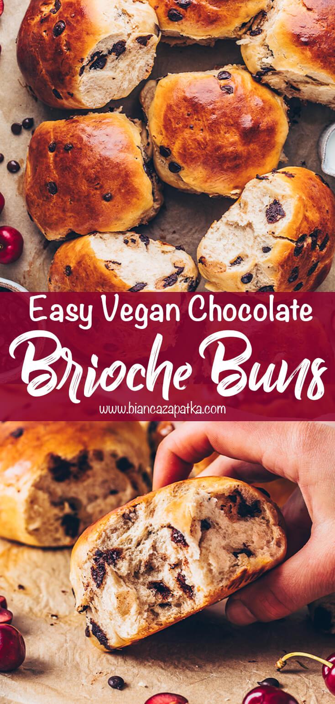 Chocolate Brioche Buns (Easy Vegan Rolls)