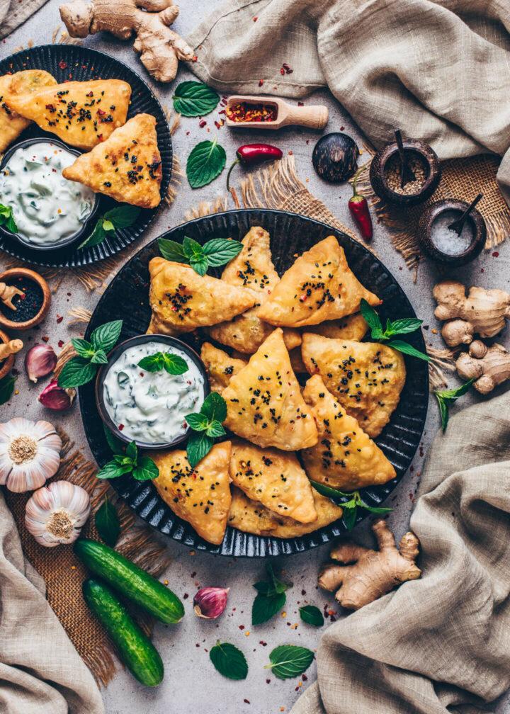 Indian Samosas with Raita (food photography)