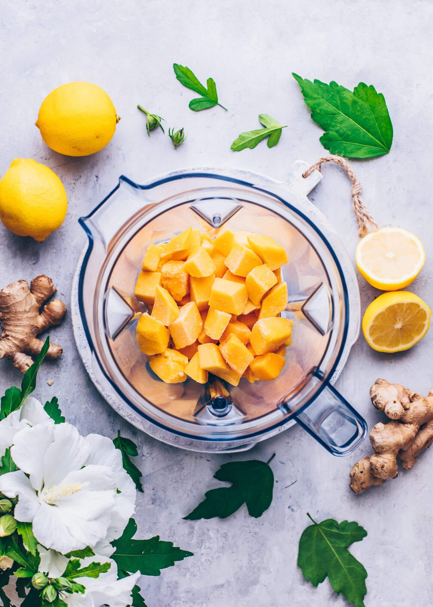 Mango chunks in a blender
