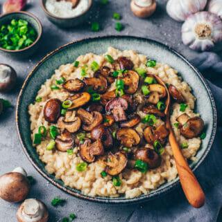 Cremiges Pilz-Risotto (Vegan + einfach)