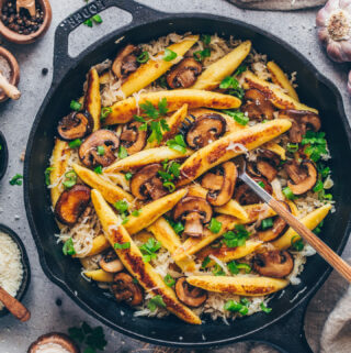 Vegan Potato Noodles (German Schupfnudeln) with Mushrooms