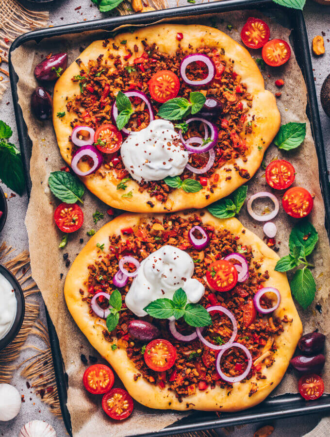 Turkish Pizza, Lahmacun flatbread (food photography)
