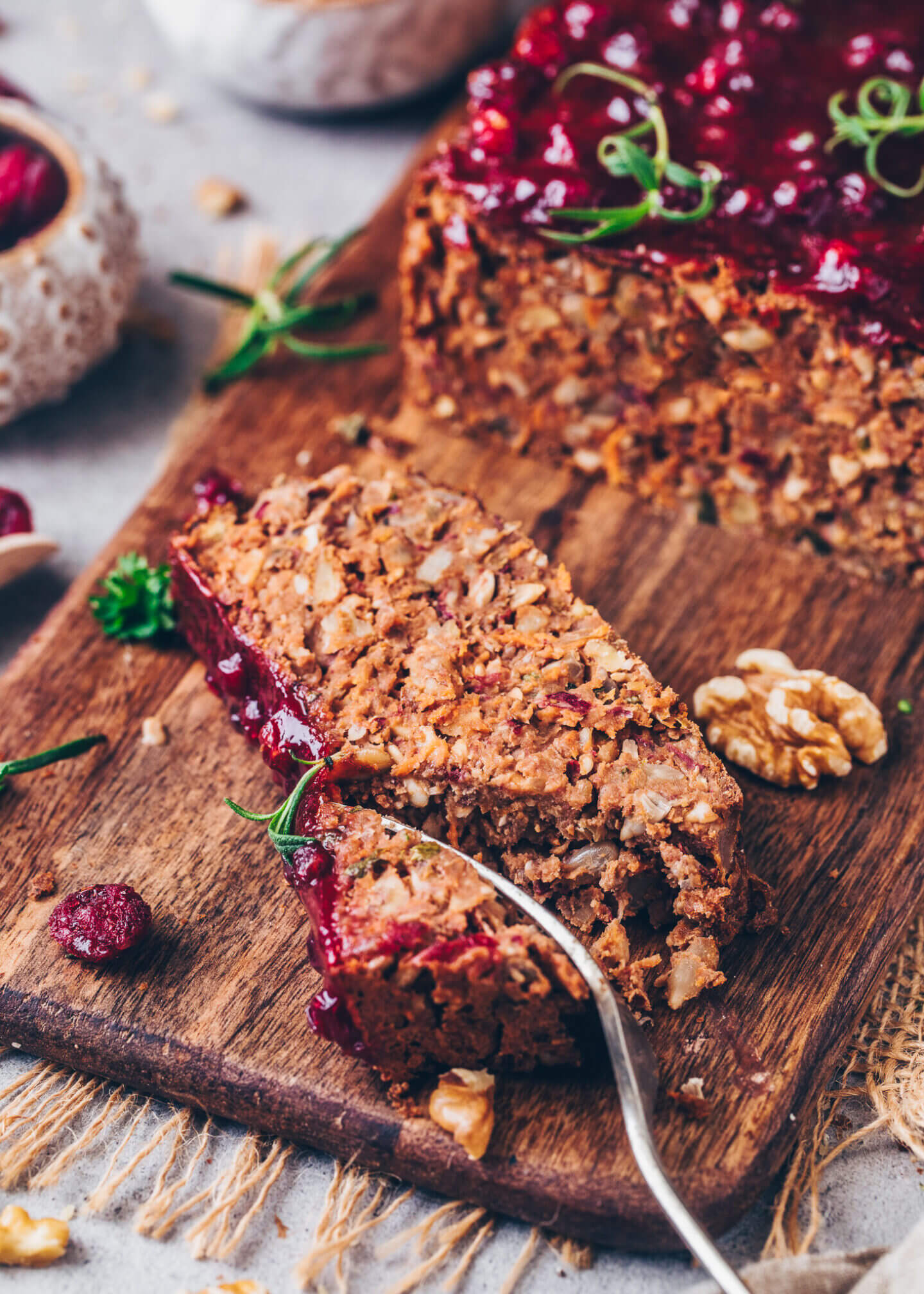 Vegan Meatloaf with Cranberry Chutney