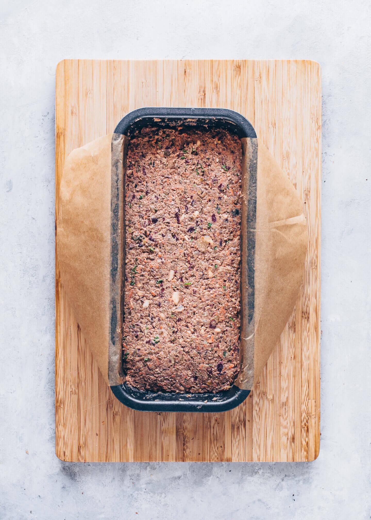 Lentil Meatloaf mixture in a loaf pan