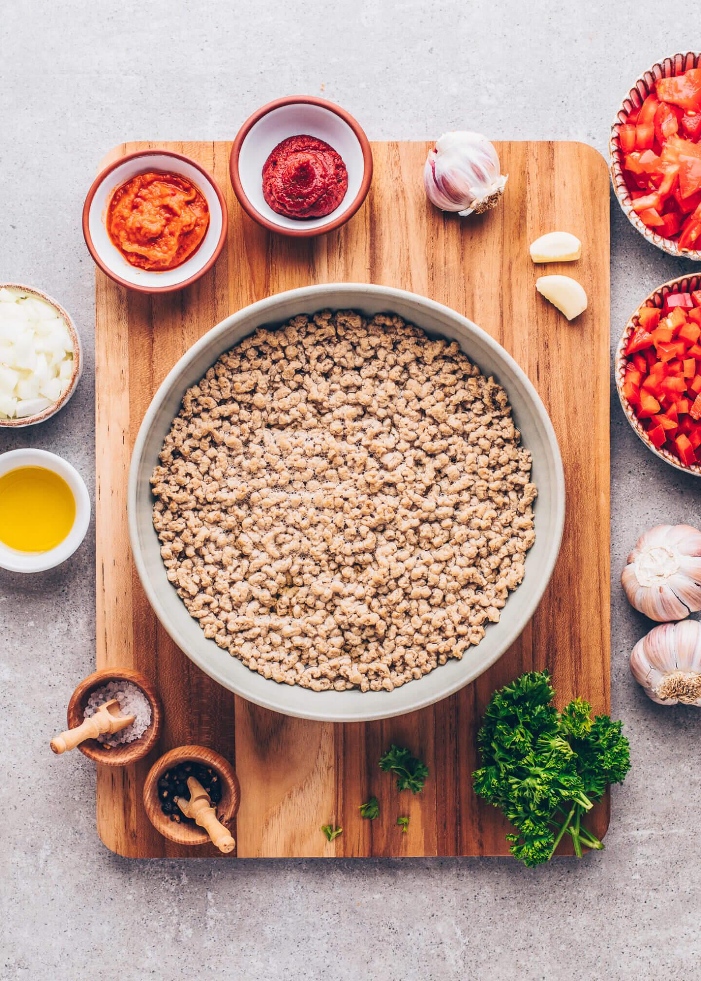 vegan mince granules soaked in vegetable broth