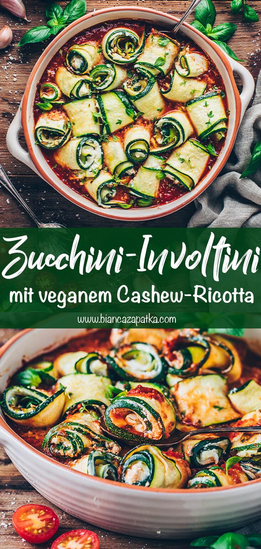 Zucchini-Röllchen mit Ricotta (Vegane Involtini)