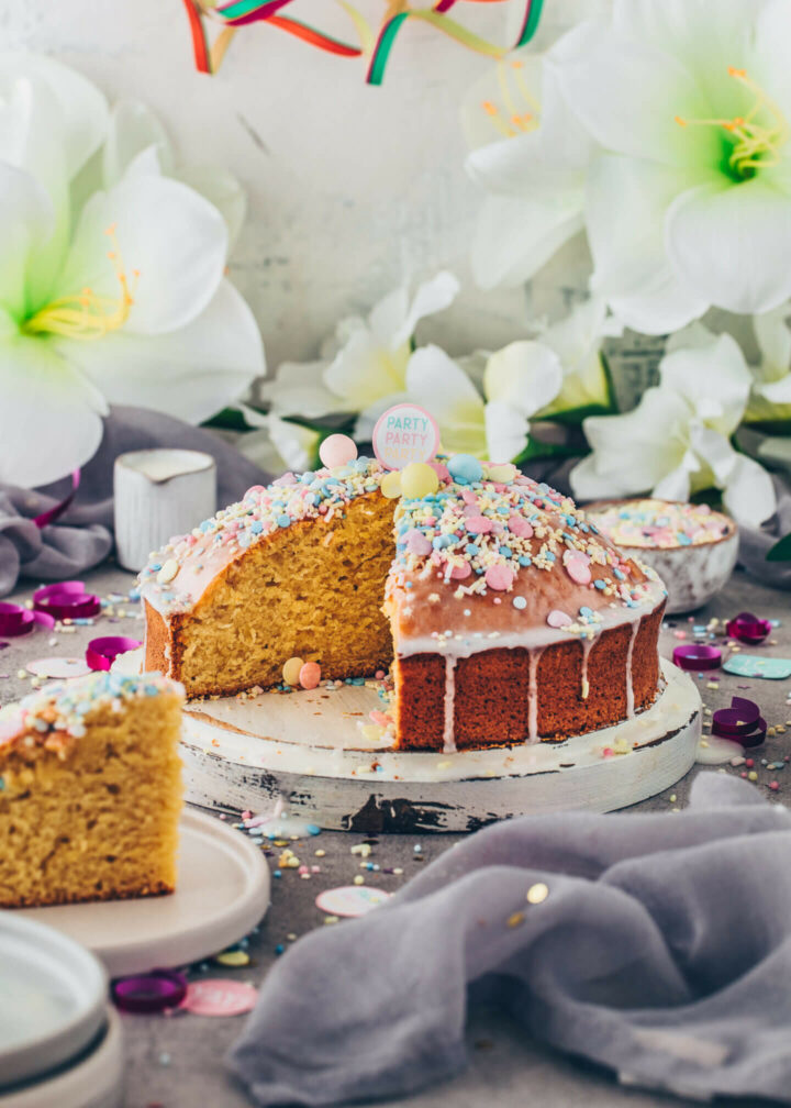 Vegan Funfetti Cake with Lemon Icing and Sprinkles