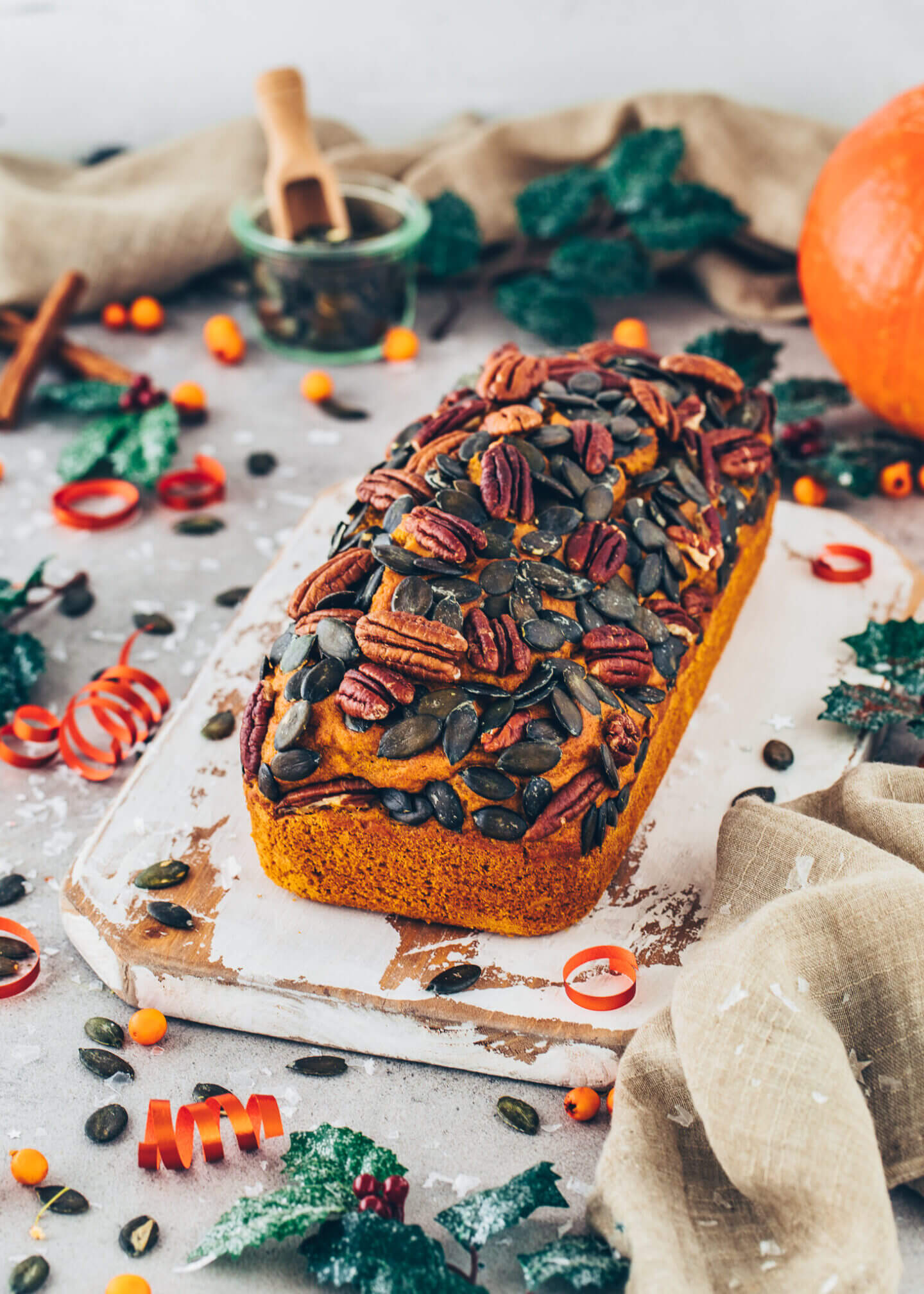 Vegan Pumpkin Bread with Pecans and Pepitas