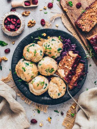 German Bread Dumplings with Lentil Loaf, Braised Red Cabbage and Vegan Gravy