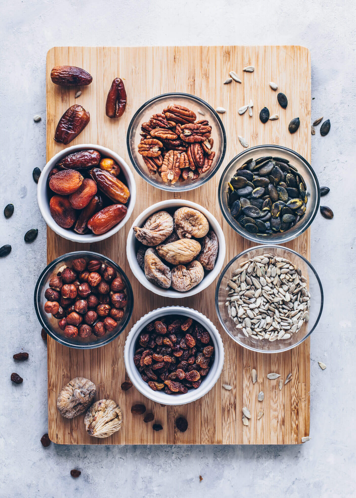 Hazelnuts, dates, apricots, pecans, figs, pepitas, sunflower seeds