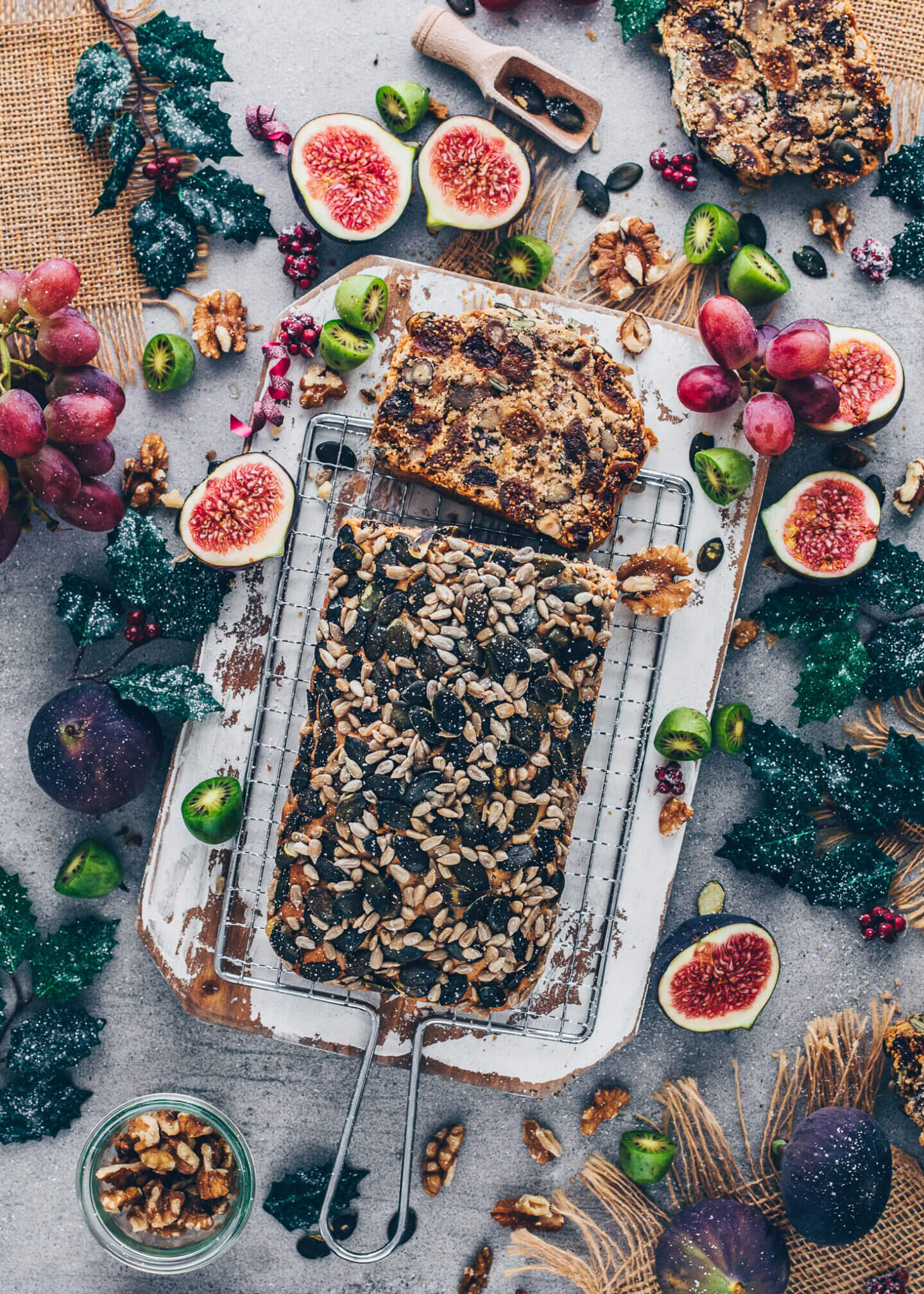 Fruit and Nut Bread with sunflower seeds and pepitas