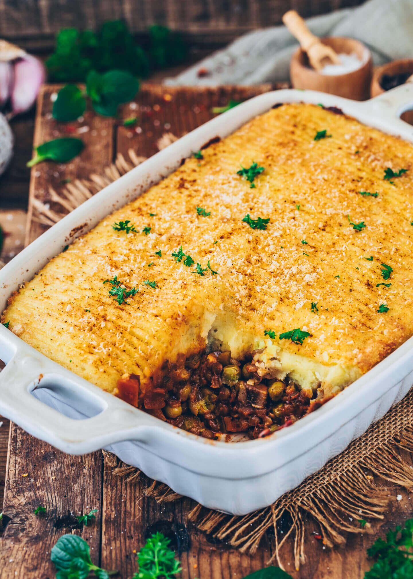 Shepherd's Pie (Veganer Hackfleischauflauf mit Linsen und Gemüse)
