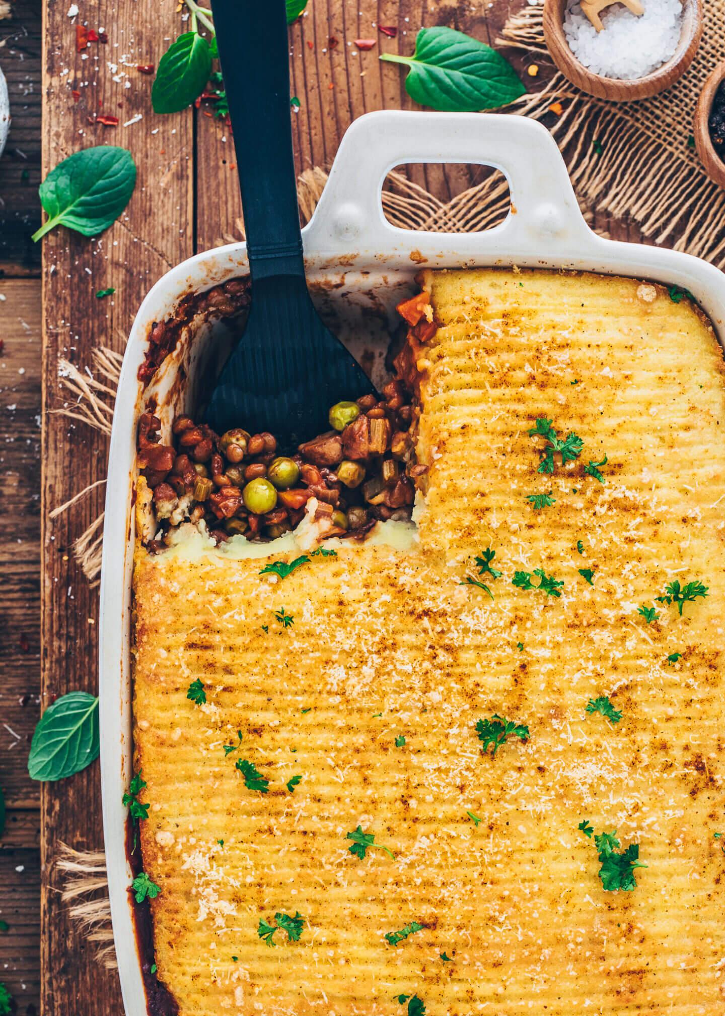 Shepherd's Pie mit Linsen und Kartoffelhaube