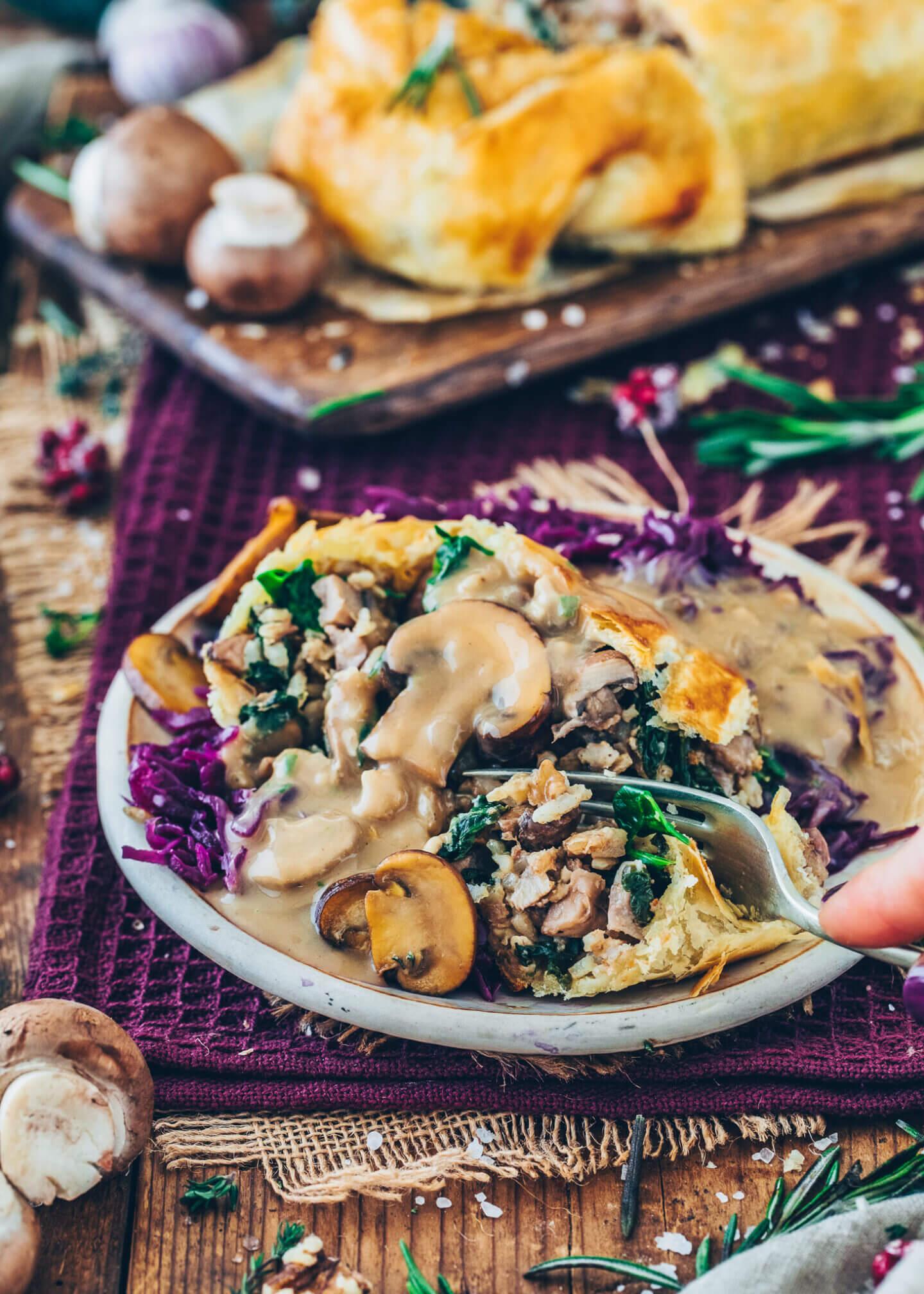 Mushroom Wellington with Braised Red Cabbage and Vegan Gravy