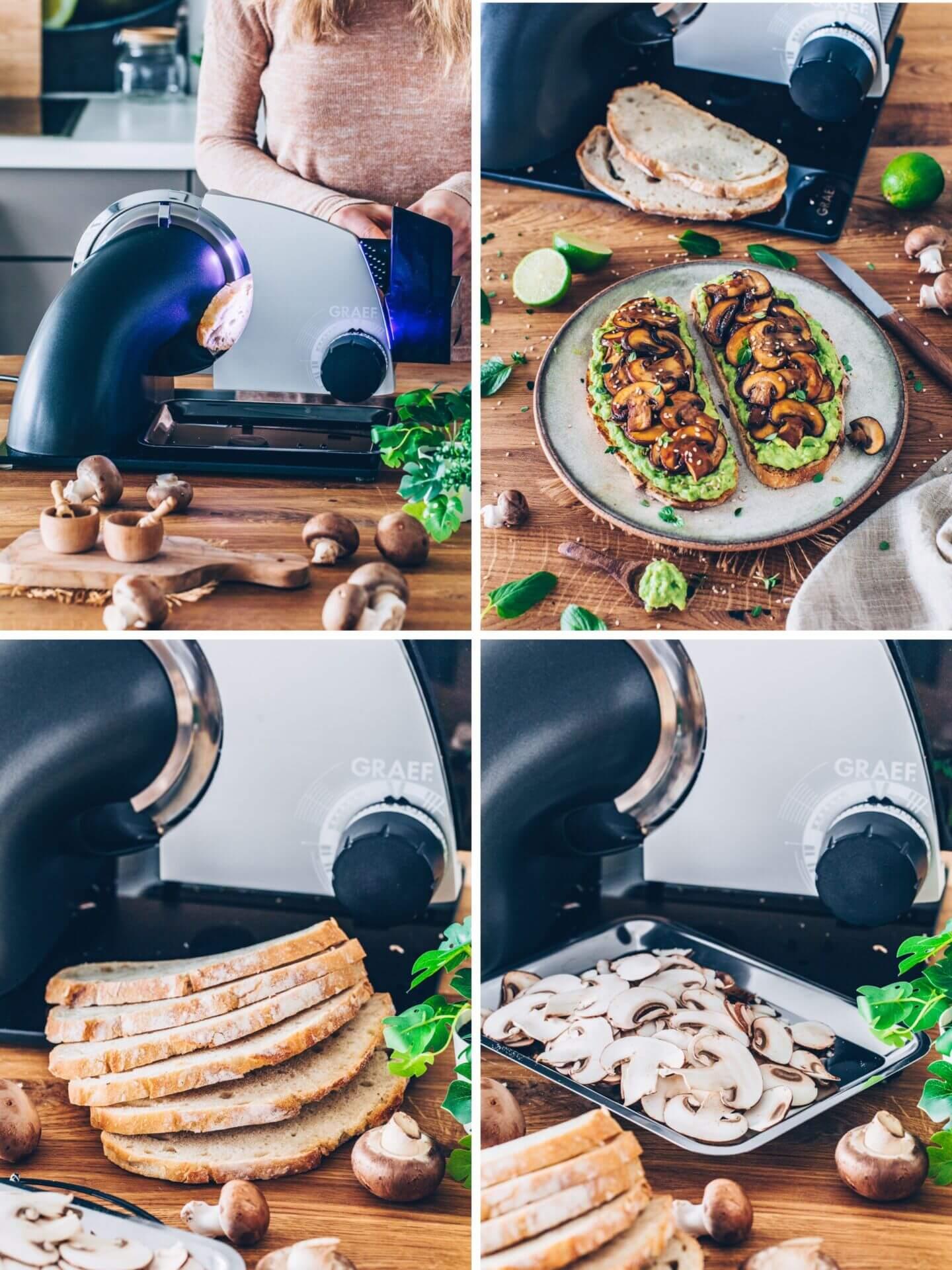 Brot und Pilze schneiden mit dem Allesschneider von GRAEF