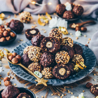 selbstgemachte Ferrero Rocher, Schokoladen Haselnuss Kugeln