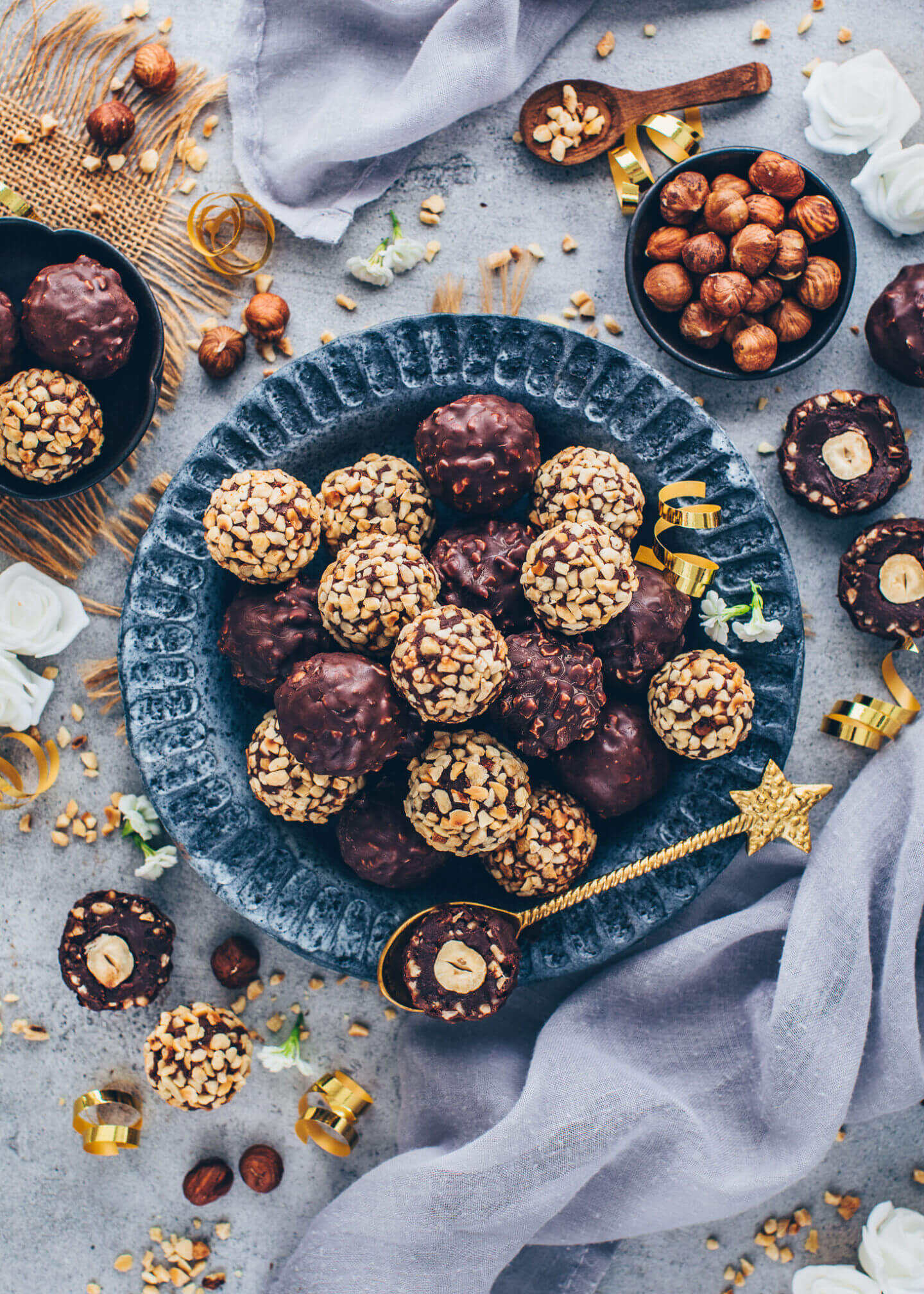 Vegan Ferrero Rocher - Chocolate Hazelnut Pralines