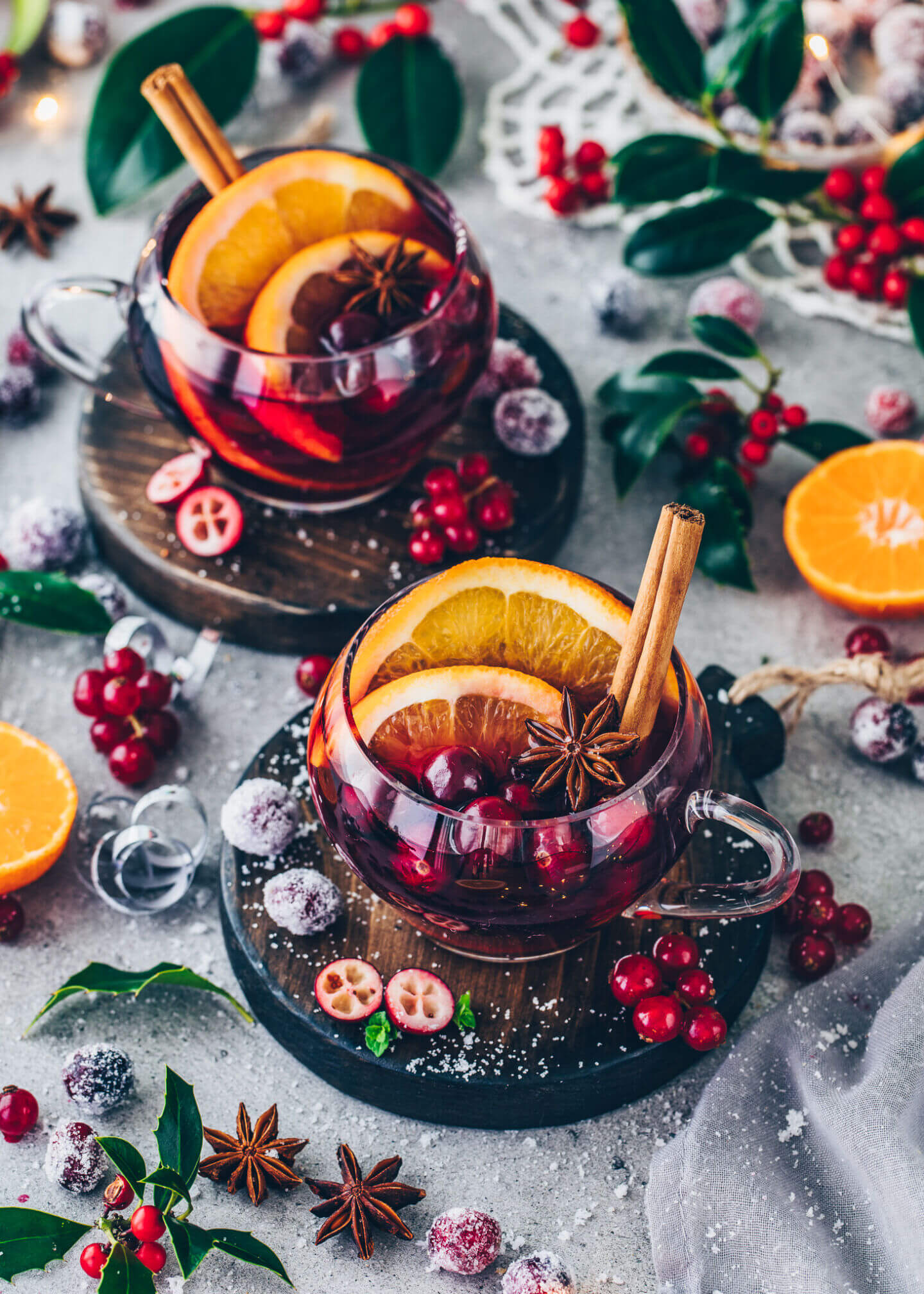 Homemade Mulled Wine with oranges, cranberries, star anise, and cinnamon