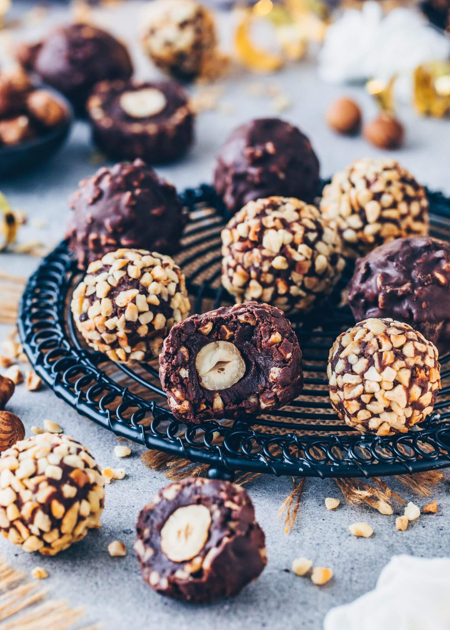 Haselnuss-Pralinen, Schokoladen-Trüffel, Vegane Rocher