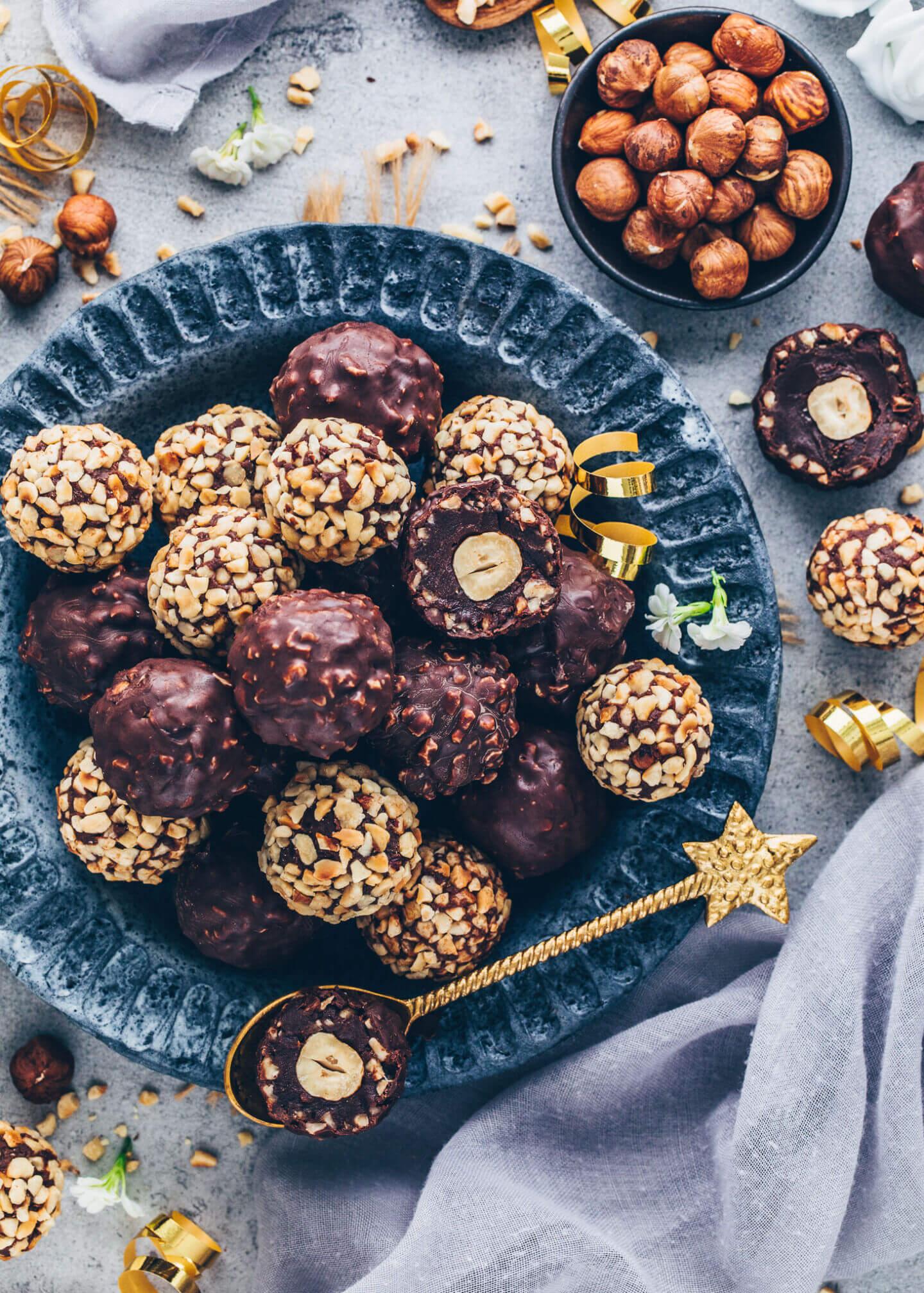 Selbstgemachte Vegane Ferrero Rocher Trüffel