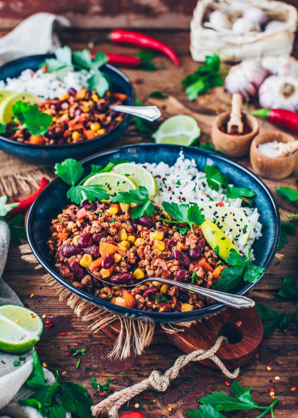 Veganes Chilli sin carne Rezept mit Bohnen und Mais