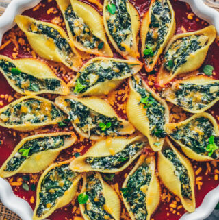 Stuffed Pasta Shells with Spinach Cream in Tomato Sauce