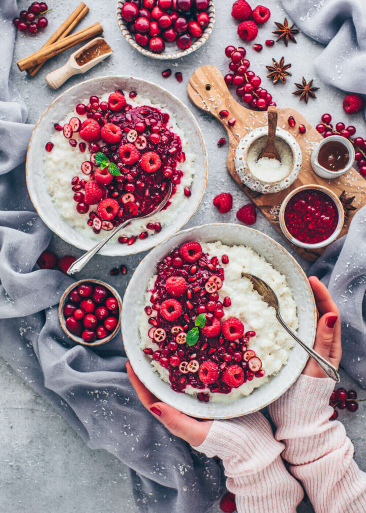 Coconut Rice Pudding with Raspberry Sauce, red currants, cranberries, and pomegranate (Vegan Foodporn)