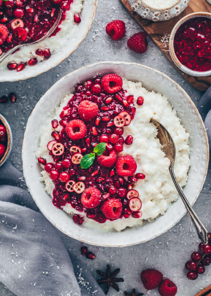 Coconut Rice Pudding with Raspberry Sauce (Food Photography)