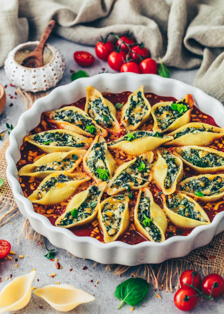Spinach Stuffed Shells in Tomato Sauce