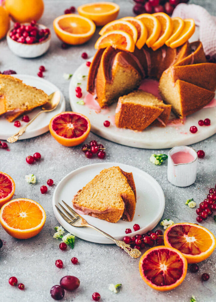 Blood Orange Bundt Cake with red currants and pink glaze (Food Photography, Food Styling)