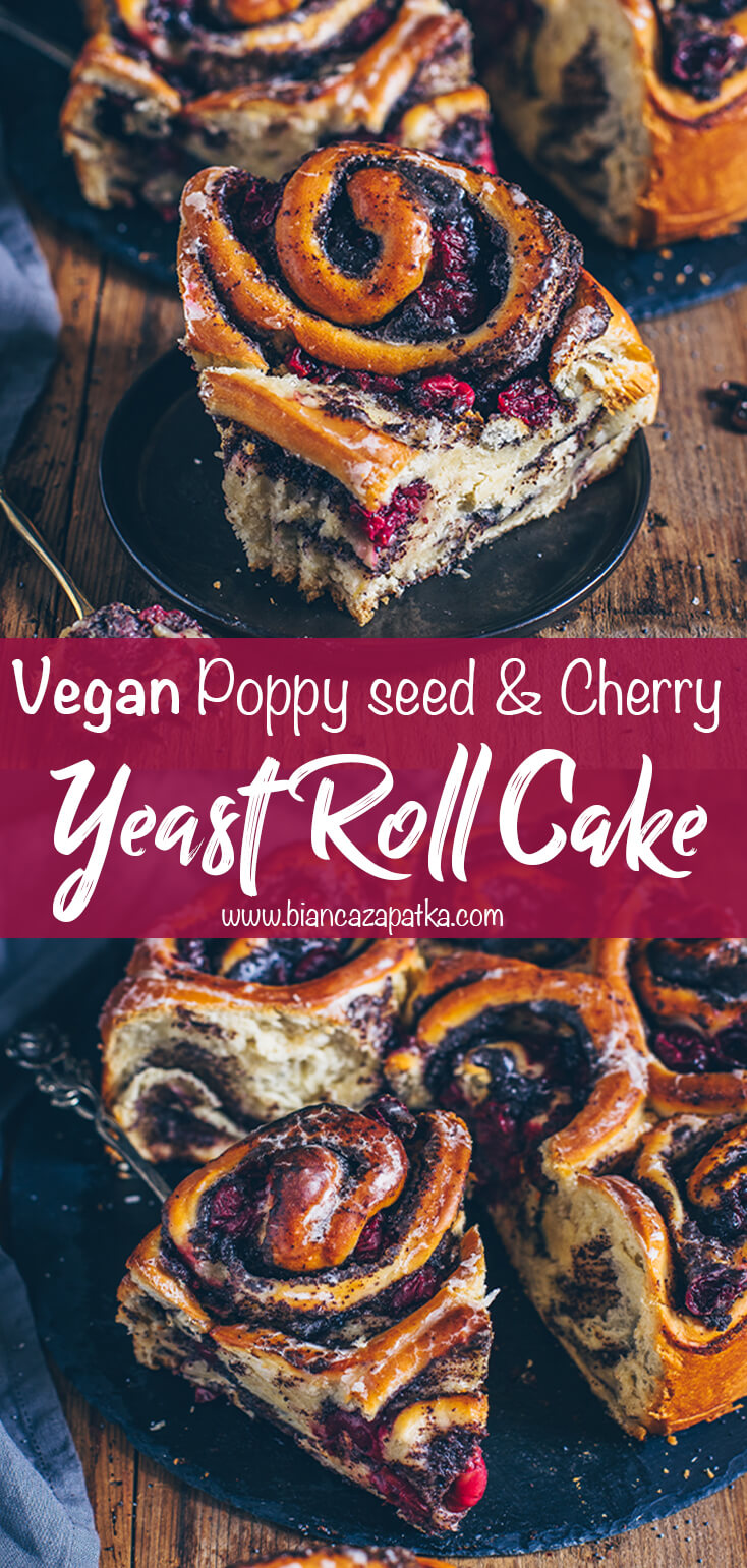 Poppy seed and cherry yeast roll cake