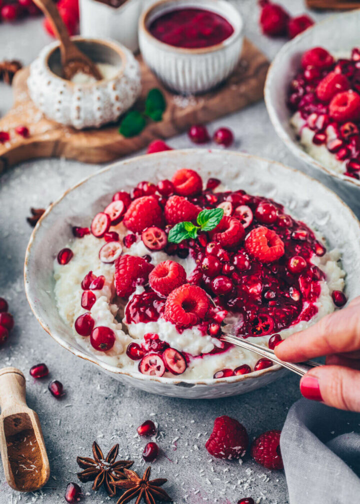 Vegan Rice Pudding with Raspberry Sauce