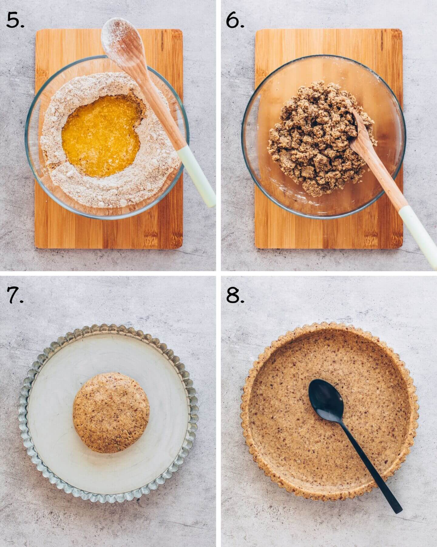 Vegan Tart Crust with gluten-free oats, almonds, and maple syrup (step-by-step instruction)
