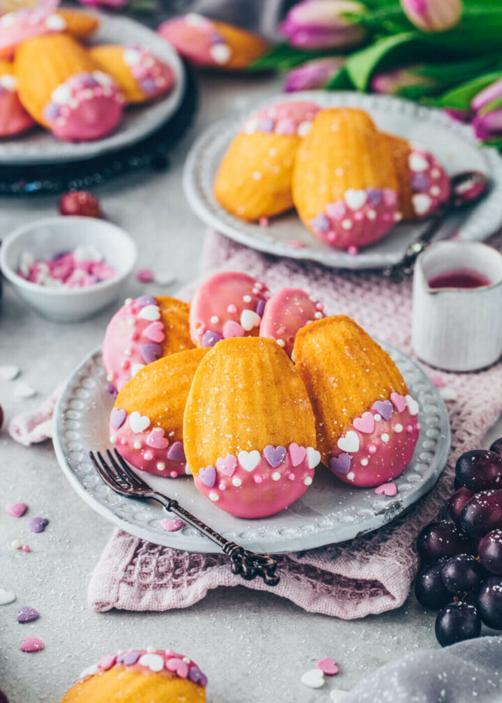 Vegan Madeleines with pink glaze and sugar hearts