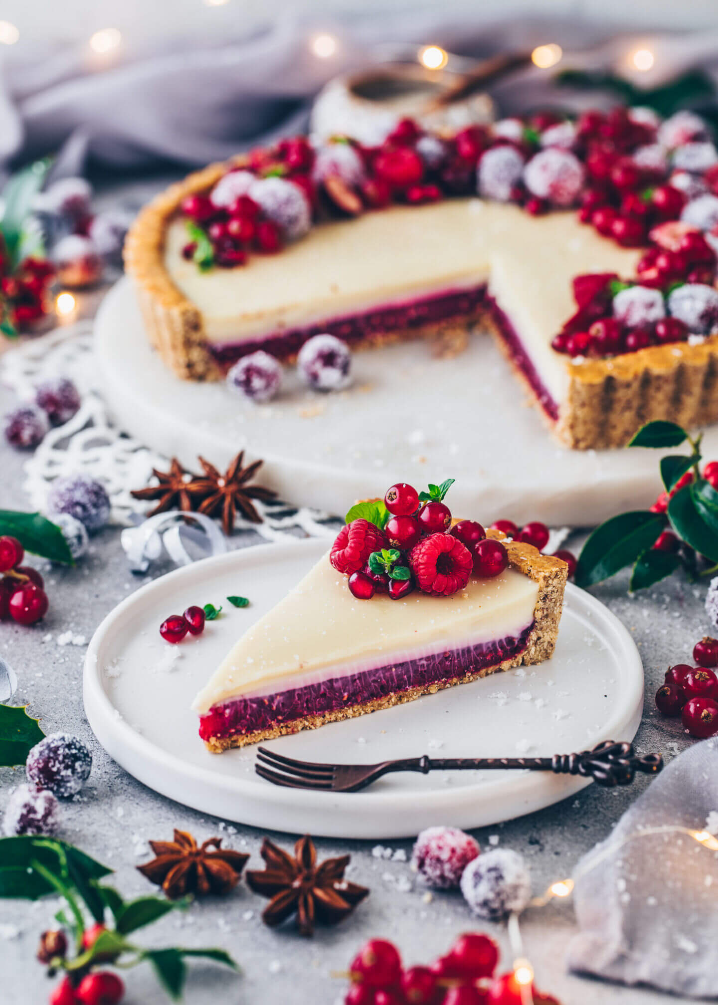 White Chocolate Tart with Raspberry filling